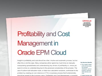 Profitability and Cost Management in Oracle EPM Cloud data sheet