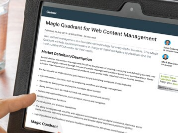 Gartner 2019 Magic Quadrant for Web Content Management