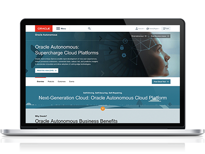 Screenshot der Oracle Autonomous Website