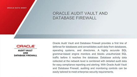Data Sheet: Oracle Audit Vault and Database Firewall
