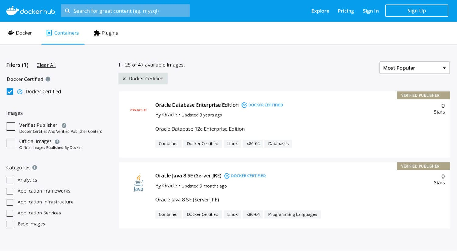 Figura 3: Captura de pantalla de Docker Registry