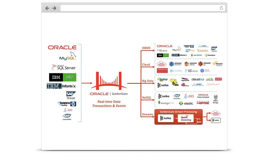 Oracle GoldenGate for Big Data offers an extensible solution to support all major big data systems.