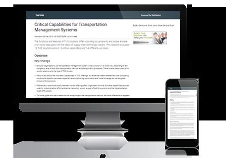 2019 Gartner Critical Capabilities for Transportation Management Systems