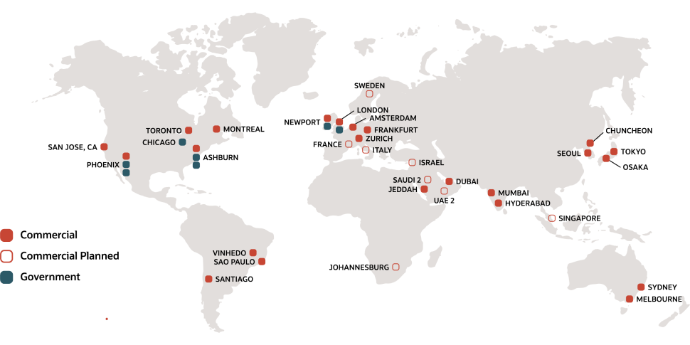 Oracle Cloud Infrastructure Data Center Regions