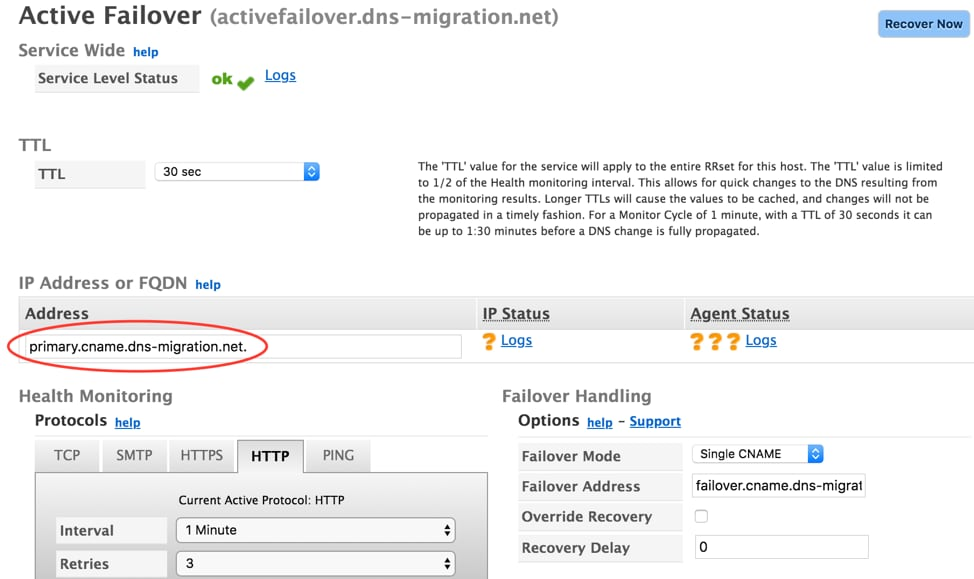 Dyn Active Failover Primary Record
