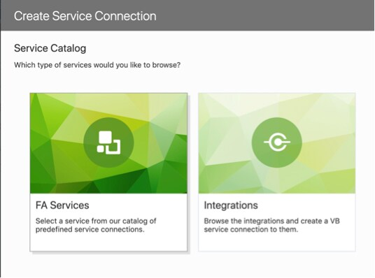 FA Services are part of the Oracle Visual Builder Service Catalog