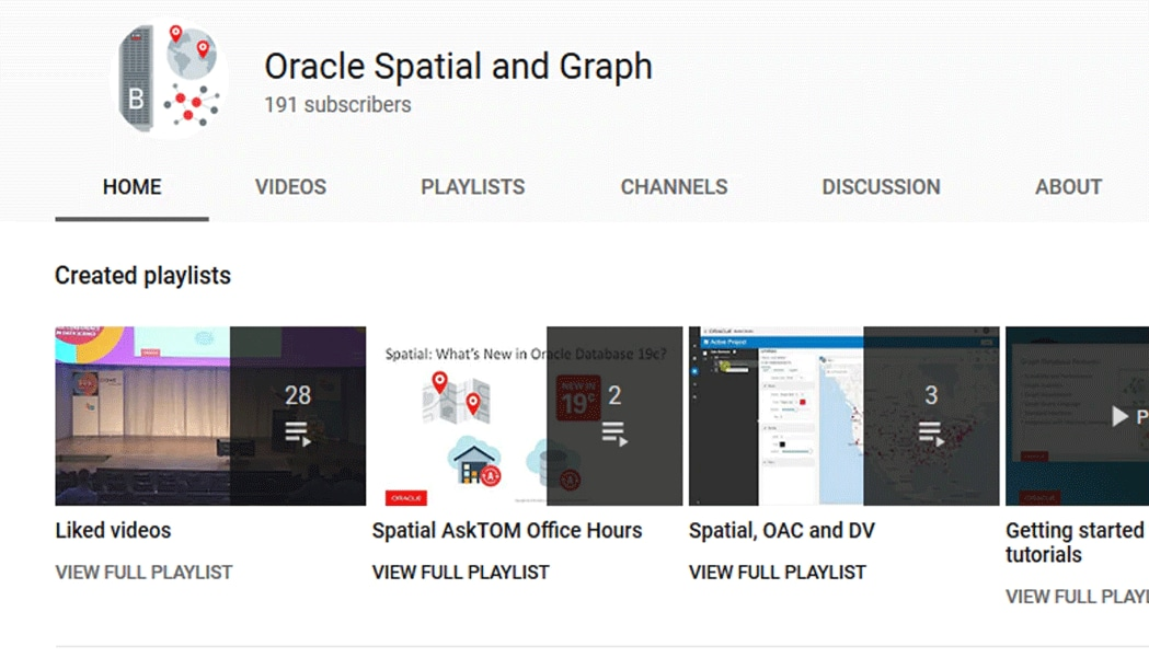 Oracle Spatial and Graph YouTube Channel