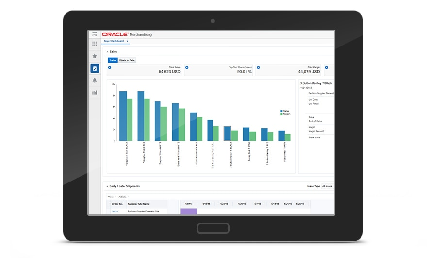 Oracle Retail Merchandising Buyer Dashboard on a Tablet