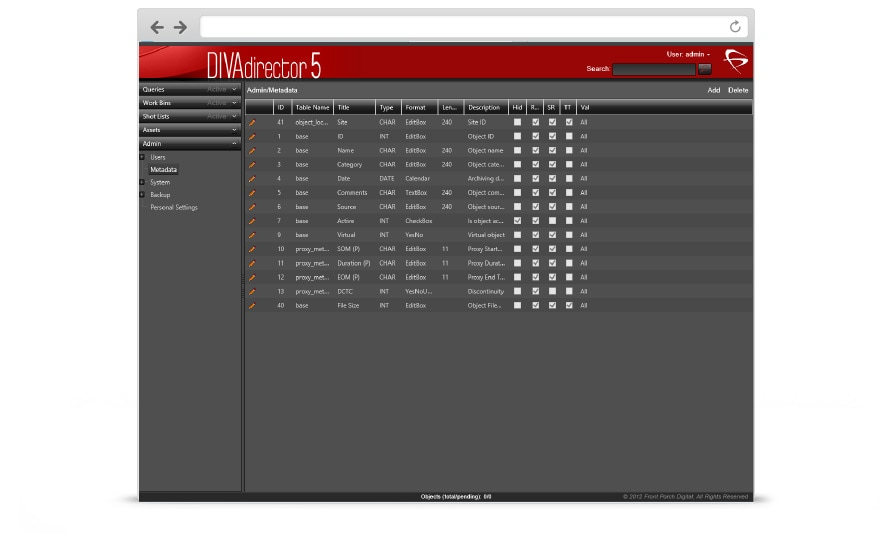 Oracle DIVAdirector Screenshot, version 3