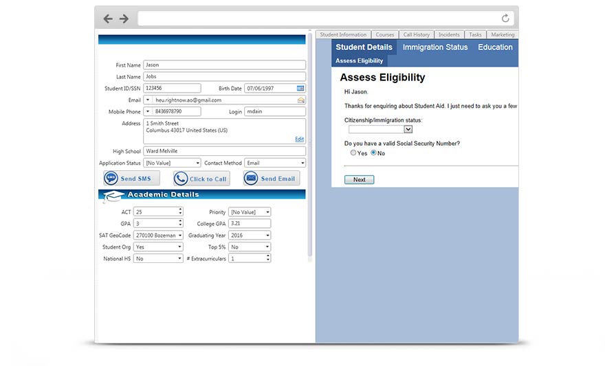 Create online processes to assess eligibility