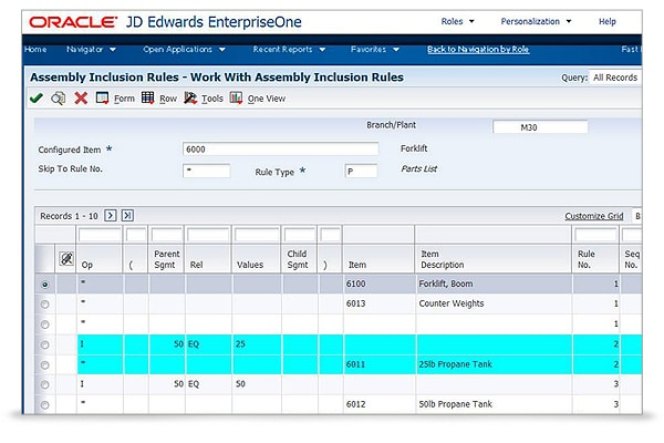 JD Edwards EnterpriseOne Configurator Screen 1