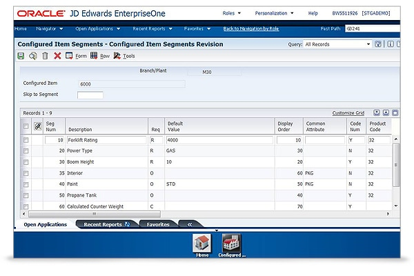 JD Edwards EnterpriseOne Configurator Screen 2