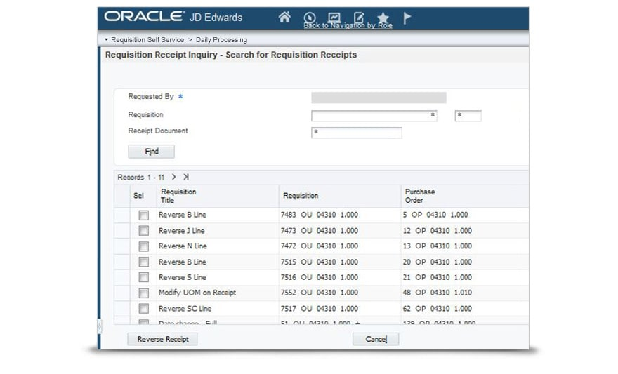 requisition self service oracle