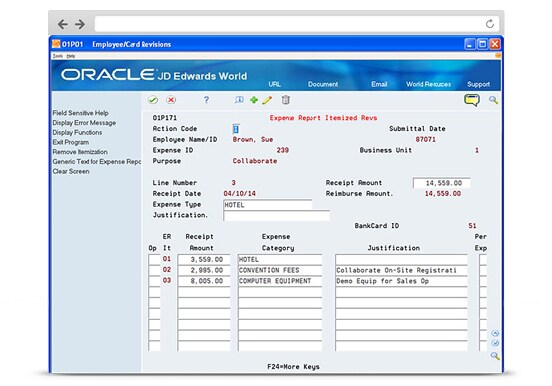 JD Edwards World Expense Management's Expense Report Itemized Revisions screenshot