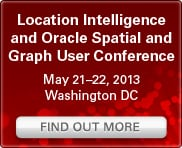 Location Intelligence and Oracle Spatial and Graph User Conference: May 21-22, 2013, Washington DC