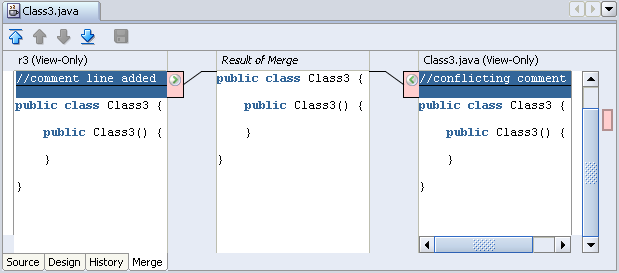 Merge tool showing conflicts in Class3.java