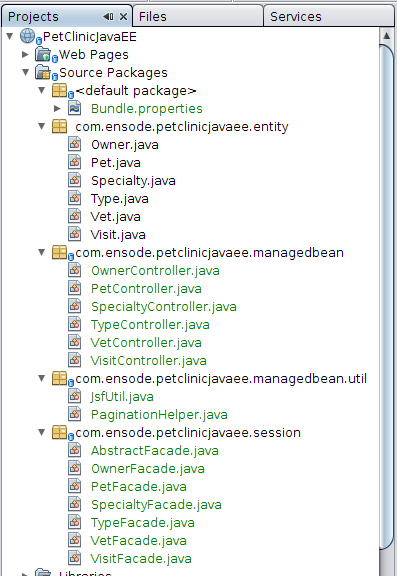 Controllers Generated by NetBeans
