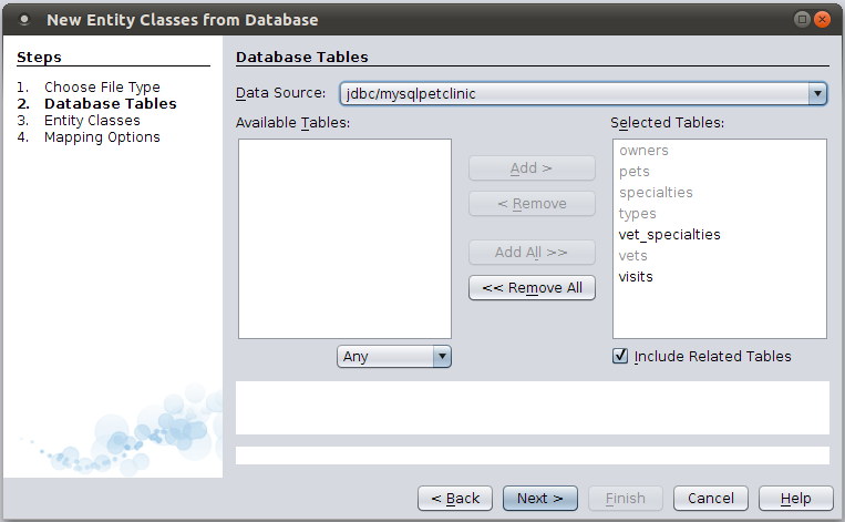 Figure 12: Database Tables