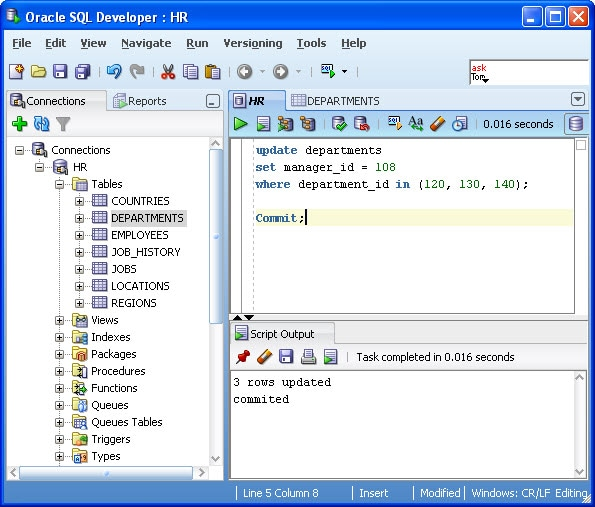 How to use the SQL Worksheet in SQL Developer