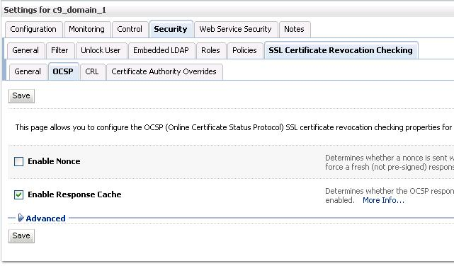 Figure 3: OCSP tab in WLS console