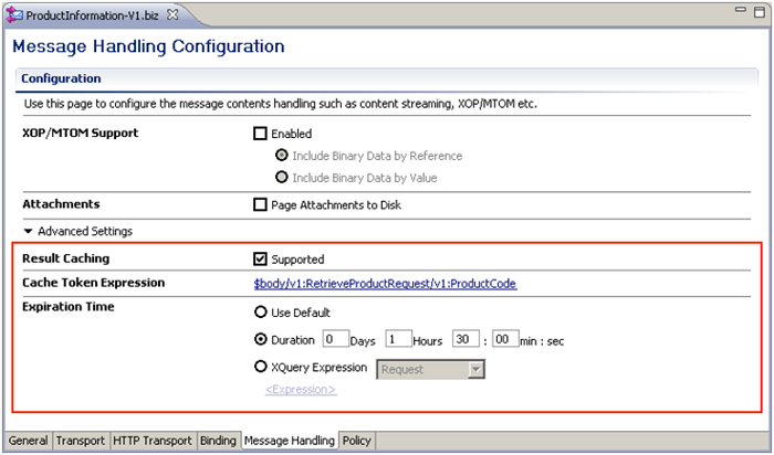 message handling configuration