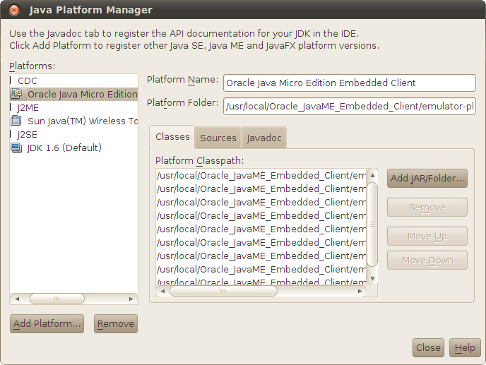 Now the Oracle Java Micro Edition Embedded Client is in the list