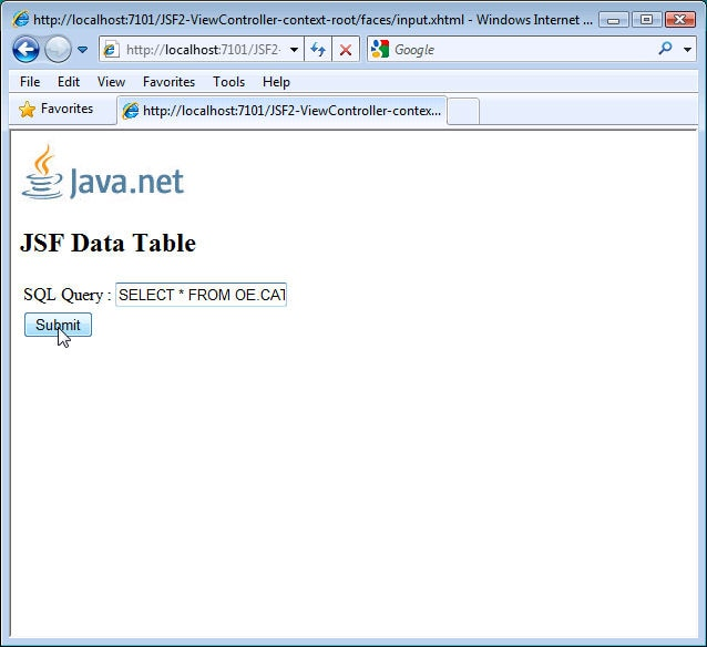 Figure 5. The input.xhtml Page