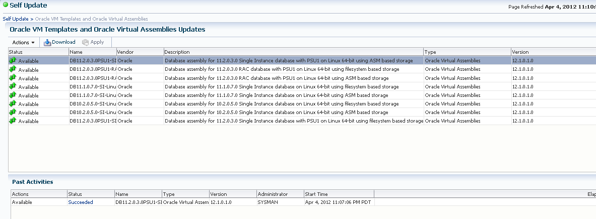 Oracle VM Templates and Oracle Virtual Assemblies Update