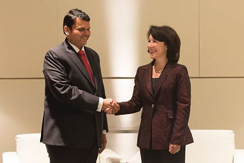 Oracle CEO Safra Catz and Chief Minister of Maharashtra Shri Devendra Fadnavis