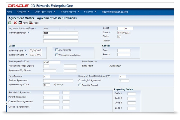 JD Edwards EnterpriseOne Agreement Management screenshot 1