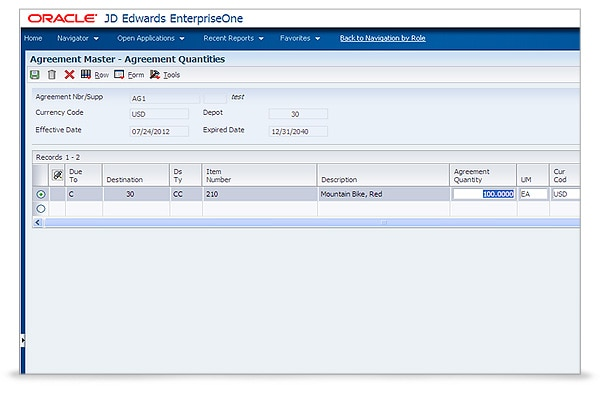 JD Edwards EnterpriseOne Agreement Management screenshot 2
