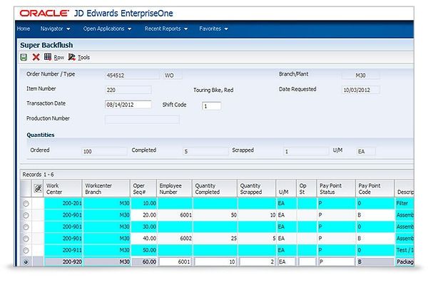 JD Edwards EnterpriseOne Requirements Planning Screen 1
