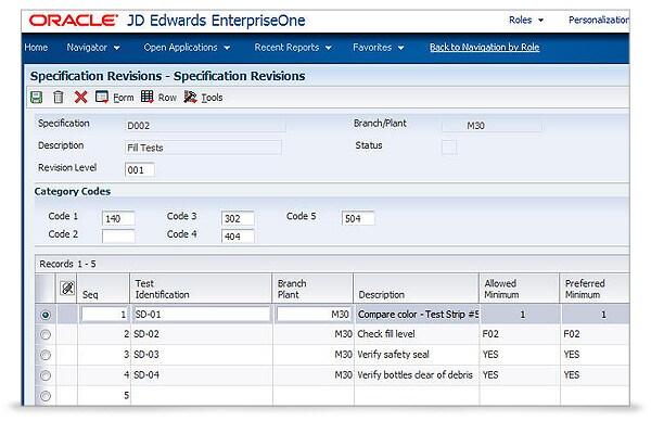 JD Edwards EnterpriseOne Quality Management 4