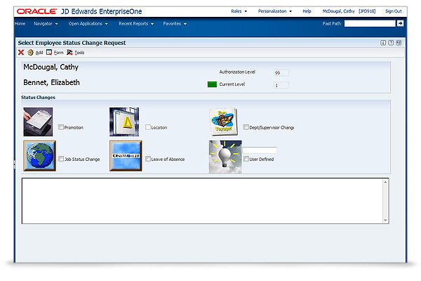 jd edwards enterpriseone self service human resources