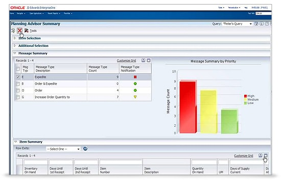 JD Edwards EnterpriseOne In Memory Planning Advisor Screen 3