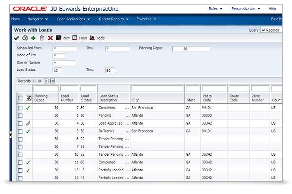 jd edwards enterpriseone transportation management