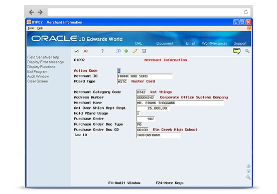 JD Edwards World Expense Management's Merchant Information screenshot