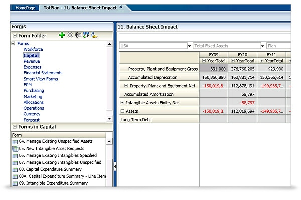 Oracle Hyperion Capital Asset Planning screen shot 3