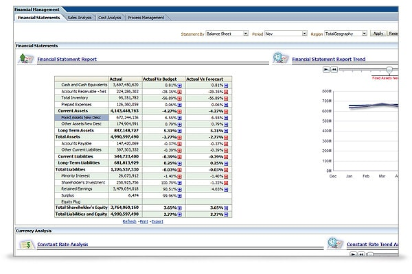 The financial statement dashboard showing key financial numbers neatly formatted for easier viewing along with Budget\Forecast variances and currency analysis