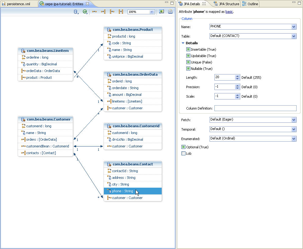 Oepe spring jpa tutorial step 4 managing persistent entities with in jpa persistence entities editor select the phone property of the contact entity the jpa details view displays properties of the phone property ccuart Image collections