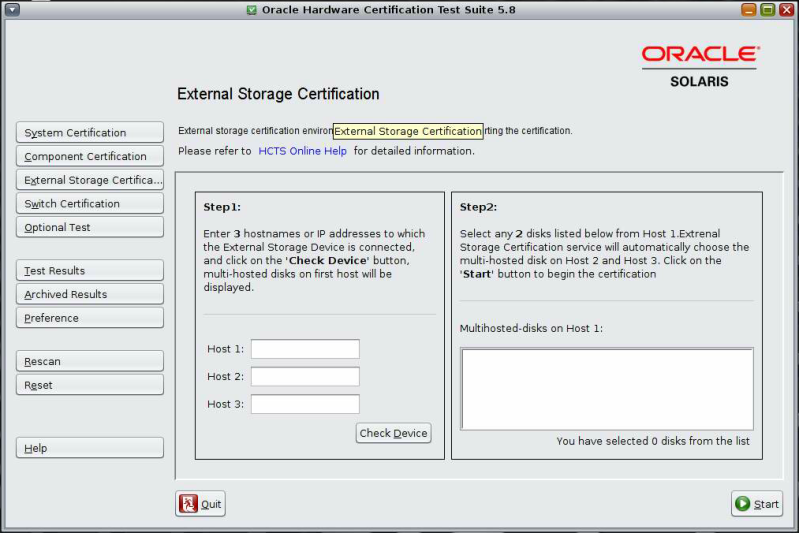 To Certify External Storage On Test Server Using Gui Oracle