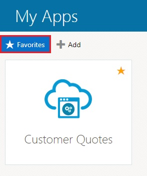 identity cloud services ui my apps page displaying only favourited applications