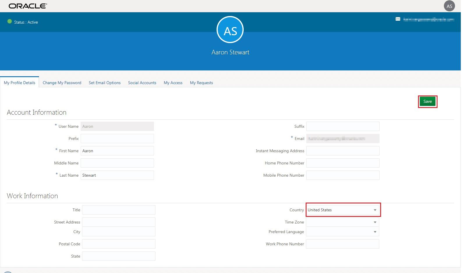 identity cloud services ui modifying user profile details