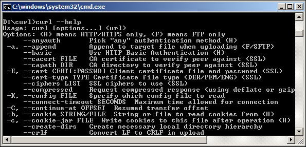 type help for curl commands