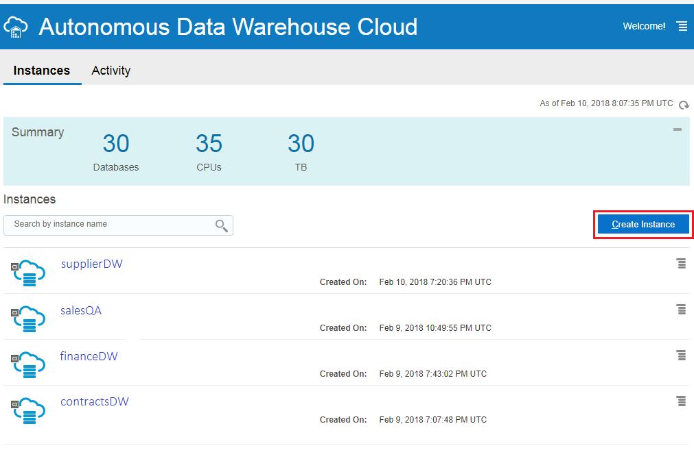 Provisioning Autonomous Data Warehouse Cloud