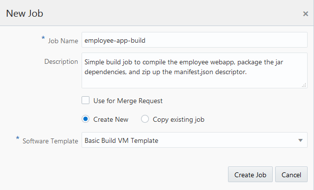 Creating a Build Job in Oracle Developer Cloud Service