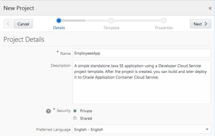 Get Started With A Development Project Using Developer Cloud - Project details template