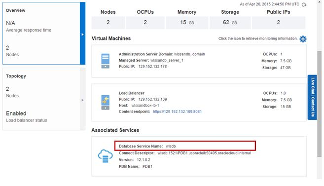 Accesssing a Database Cloud Service instance using Oracle