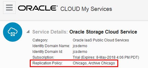 Oracle Storage Cloud Service Details