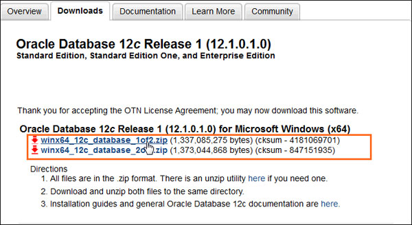 Installing oracle database 12c on windows.